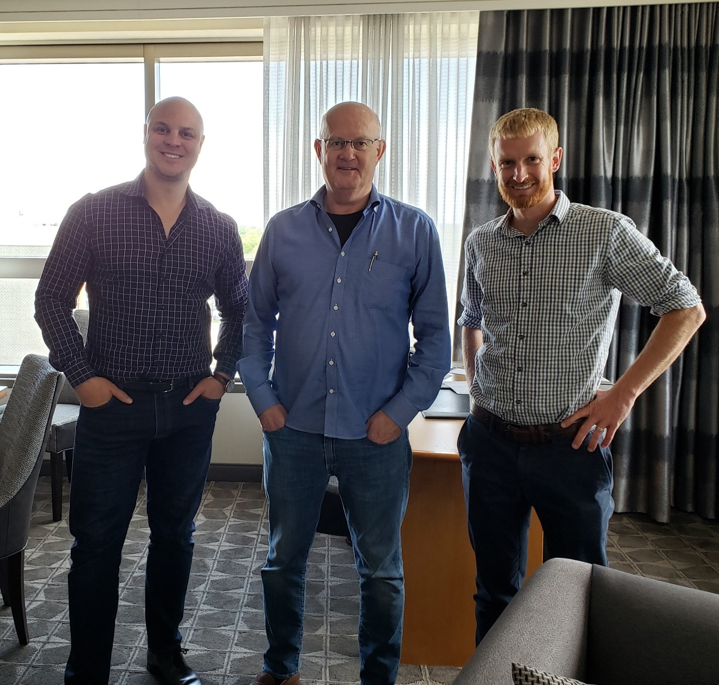From Left, ATV CEO Jason Pottinger, Thermo-Flex CEO Ed Von Bergen and AIP partner Stephen Litsas meet in Chicago to evaluate product development progress with the engineering team